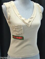 VOICE Military US ARMY distressed Tank chic Top shabby tee top sexy Womens M NEW
