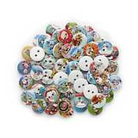 50pcs Christmas Series Wooden Buttons Scrapbook Sewing Making Decor 15mm W11452