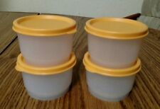 NEW Tupperware Snack Cups set 4 clear 4 oz w/ orange seals lunch snack crafts
