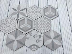 9x Odda Hexagon Ceramic Tiles - Wall & Floor Tiles - New - Size 15x17 cms