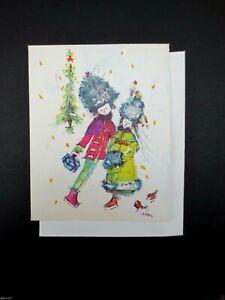 Unused Vintage Marion Xmas Greeting Card Couple Ice Skating