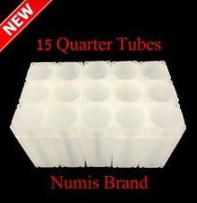 Lot Of 15 Numis Square Coin Tubes Quarter Size Stackable Safe Storage Durable