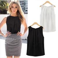 Sexy Women`s Summer Loose Casual Chiffon Sleeveless Tank Vest Shirt Tops Blouse