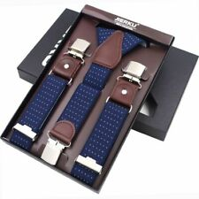 Man Spandex Suspenders Leather Clips Casual Fashion Trousers Strap 3.5*120Cm