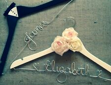 Set Of 2 Bride & Groom Bridal Wedding Hangers Personalised With Any Name/Date
