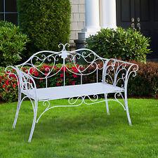 banco de jardn de metal de estilo colonial antiguo blanco silla de plazas nue