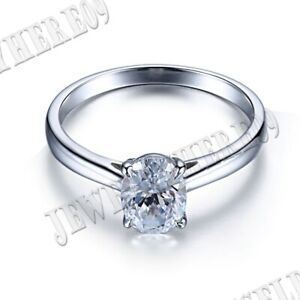 Solid 18k White Gold 2CT Oval 8x6mm White Topaz Gemstone Ring Setting Jewelry
