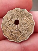 1915 | British India 1 Anna KM# Rare coin with hole in middle Kayihan Coins