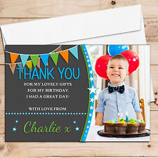 10 Personalised Boys Star Bunting Birthday Party Thank you PHOTO Cards N246