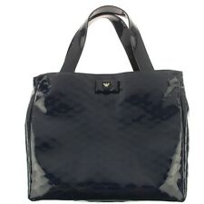NWT NEW Armani Junior girls navy patent eagle logo branded bow tote hand bag