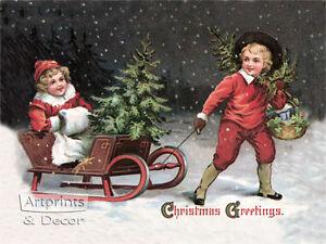 Christmas Greetings (: Art Print of Vintage Art :)