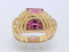Pink Turmalin Ring 750 Gelbgold 18Kt Gold  2 Brillant natürlicher Turmalin
