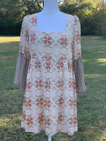 UMGEE USA Women's Size Small Boho Blouse Tunic Shirt Beige Orange Floral Top