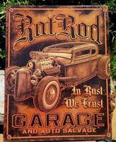 RAT ROD Metal Tin Ad Sign Vtg Retro Auto Salvage Garage Cave Shop Wall Decor