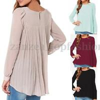 ZANZEA Womens Puff Long Sleeve Tops T Shirt Chiffon Casual Pleated Babby Blouse