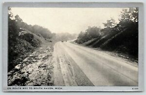 South Haven Michigan~Cars En Route~State Highway Route M31~1930s Silver Border