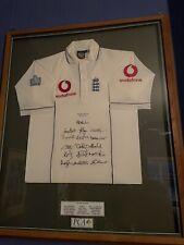 More details for rare framed signed england cricket shirt - flintoff, peterson, strauss, vaughan