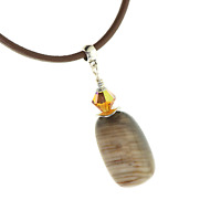 Arizona Petrified Wood Copper Wire Wrap Necklace with Leather Cord for Leo Gift