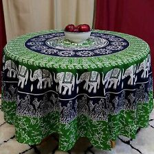 "Handmade 100% Cotton Elephant Mandala Floral 81"" Round Tablecloth Blue Green"