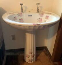 Antique Floral Pedestal Sink