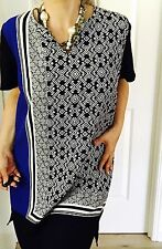 BASQUE WOMENS DRESS PRINTED KNEE LNT SHORT SLV ZIP WORK PARTY Sz 20