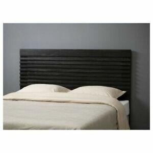 IKEA MATHOPEN Headboard King Black brown SOLID WOOD - New In Box