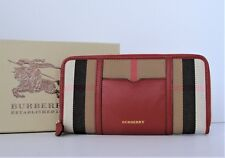 NWT Burberry Zip around Wallet in House Check & Red Leather w/ Sartorial pocket