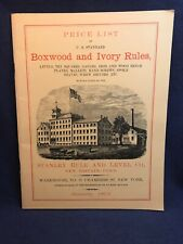 1872 Price List Boxwood & Ivory Rules STANLEY New Britain Conn Levels Plane 1981
