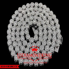 New 14k White Gold Finish High Quality Lab Diamond Flower Cluster Chain Necklace