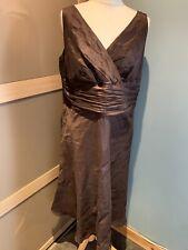 Monsoon Brown Linen/silk Sleeveless Dress Size 18
