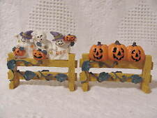 """Halloween Fences with Vines-one with pumpkins & one with Ghosts 4"""" wide Set of 2"""