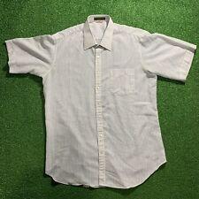 VTG YSL Yves Saint Laurent Logo Button Up Short Sleeve Shirt Rare White/blu 42 L