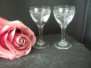 "Pair of Pretty Etched Vintage Liqueur Glasses Vintage 3.25"" tall"