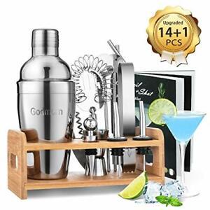 Godmorn Cocktail Shaker Set,14 + 1 pezzi Kit da Barman in Acciaio Inox, 550ml
