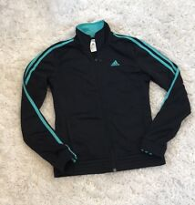 Adidas Womens Full Zip Athletic Track Jacket, Black and Green/Aqua-Size XS