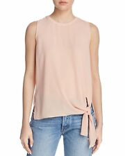$150 Dylan Gray Women'S Pink Round Neck Sleevless Tie Hem Tank Blouse Top Size S