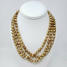 "Ringed Baroque Freshwater Pearl 56"" long Necklace - Dyed Golden Brown 8-9mm"