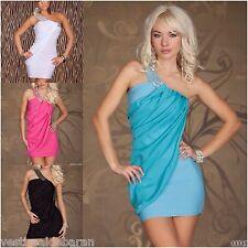 Miniabito Vestitino Donna Vestito Monospalla Bodycon A878 Tg Unica