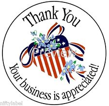 AMERICAN FLAG HEART WITH RIBBON & FLOWERS #19 THANK YOU STICKER LABELS