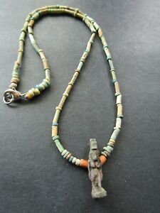 NILE  Ancient Egyptian Isis Amulet Mummy Bead Necklace ca 600 BC