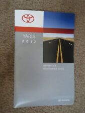 2012 TOYOTA YARIS OWNERS WARRANTY MANUAL AND MAINTENANCE GUIDE