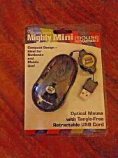 Mighty Mini Mouse Retractable USB cord, Tangle Free, Compact For Mobile use NIB