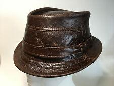 LOWER CROWN borsalino hat marrone in cuoio effetto craquelé S   M   L   XL  realizzata a mano nel Regno Unito per ordine 077a34bff449