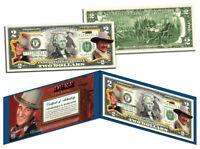 """JOHN WAYNE """"The Duke"""" Colorized U.S. $2 Bill Legal Tender *Officially Licensed*"""