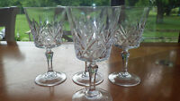 Cut Crystal Wine glasses Palm leaf design 4 6 oz elegant stems Cristal D'Arques