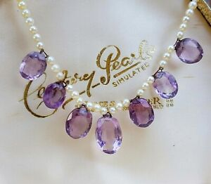 Antique 9ct Gold Art Deco White Pearls and Faceted Purple Amethysts Necklace