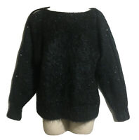 UNIQUE HAND KNIT UK 10 S Mohair Wool BATWING JUMPER SWEATER PULLOVER Black Blue