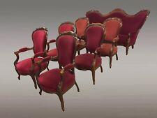 Salon noyer Louis-Philippe six fauteuils un canapé