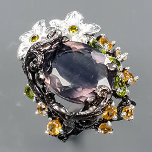 Gemstone jewelry Set Fluorite Ring Silver 925 Sterling  Size 8.75 /R173746