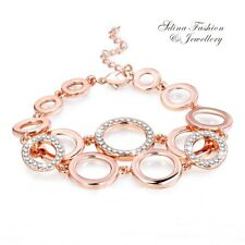 18K Rose Gold Filled Simulated Diamond New Fashion Hot Circles Bracelet